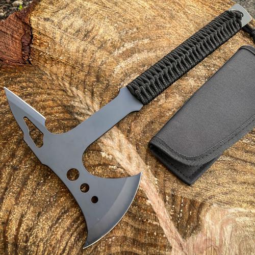 "15"" Black Tactical Tomahawk Axe Full Tang Outdoor Hunting Camping Hatchet NEW"