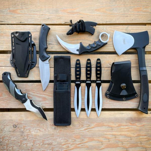 7PC Tactical Silver Survival Hatchet Axe Fixed Blade Hunting Knife Kunai SET NEW