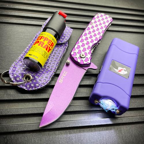 Tactical Stun Gun Flashlight + Pocket Knife + Pepper Spray Self Defense KIT NEW