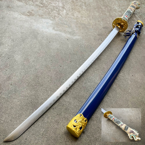 "40"" Blue Dragon NINJA Bushido SAMURAI KATANA Japanese Sword Carbon Steel Blade"