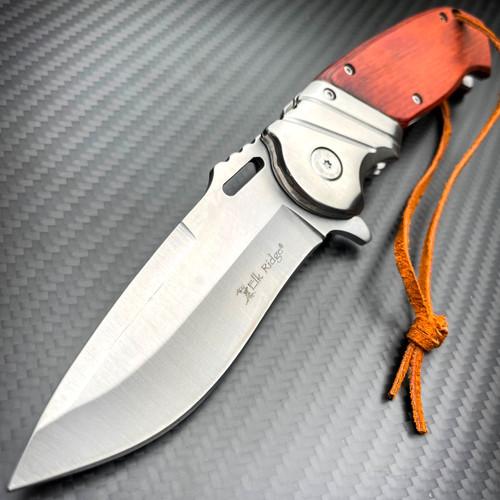 "8.25"" GENTLEMENS ELK RIDGE WOOD SPRING OPEN ASSISTED FOLDING POCKET KNIFE NEW"