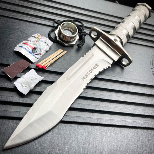 "12"" Tactical Camping Hunting Rambo Fixed Blade Knife Chrome Bowie + Survival KIT"