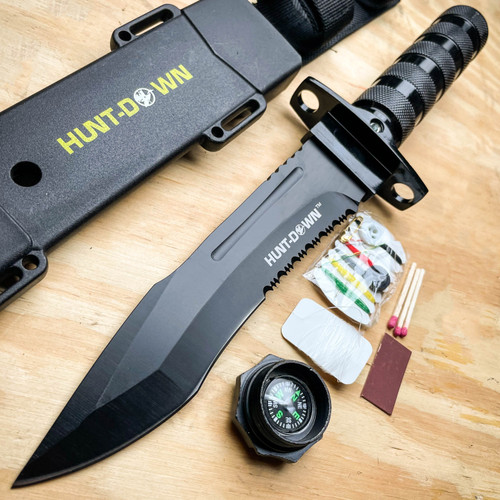 """12"""" Tactical Camping Hunting Rambo Fixed Blade Knife BLACK Bowie + Survival KIT"""