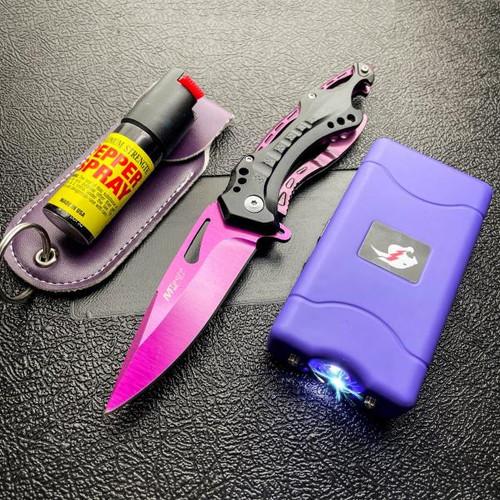 TACTICAL STUN GUN FLASHLIGHT + POCKET KNIFE + PEPPER SPRAY PURPLE SELF DEFENSE