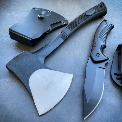 2 PC Camping Fixed Blade Tactical Combat Survival Knife w/ Sheath + Axe Hatchet