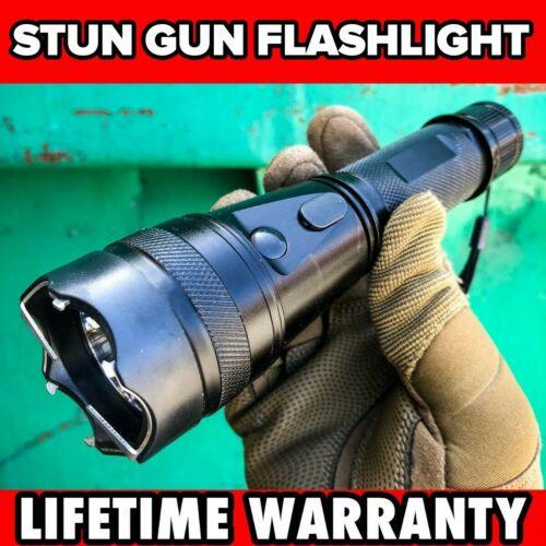 "7.25"" Military DEFENSE Tactical 10MV Stun Gun Rechargeable LED Flashlight SHOCK"