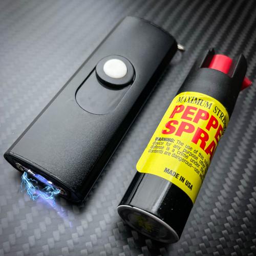 MINI SWAT Self Defense Stun Recharge LED Flashlight Women Gun BLACK Pepper Spray