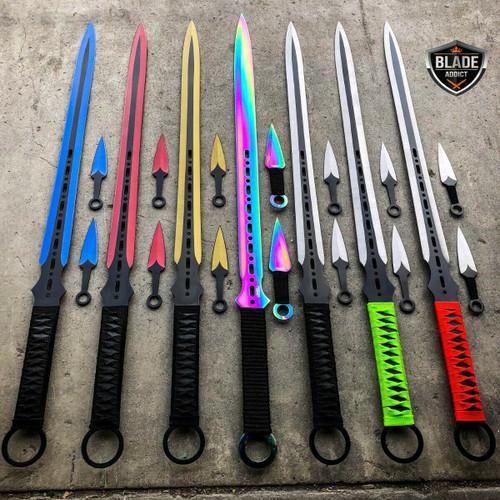 "27"" Ninja Sword Tactical Fixed BLADE Machete w/ 2 Throwing Knife  + Sheath Set"