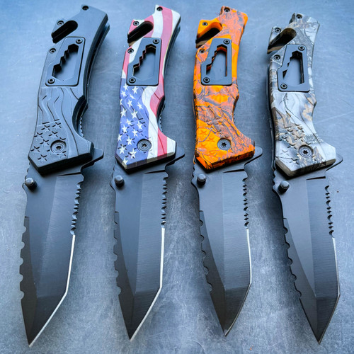 """8"""" Military Tactical Spring Assisted Rescue Multi Tool Pocket OPEN Folding Knife"""