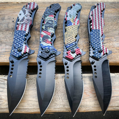 Military TACTICAL USA AMERICAN FLAG Assisted Pocket Folding OPEN Knife Blade