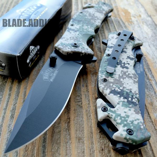 Military Camo Spring Assisted Rescue Pocket Knife