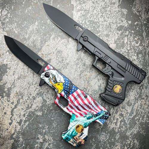"8"" POLICE HAND PISTOL Gun Folding Assisted Pocket Knife"