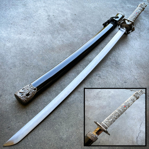 "39"" White Dragon SAMURAI NINJA Bushido KATANA Japanese Sword Steel Blade Tsuba"