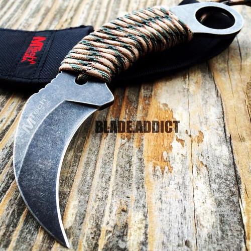 "7"" TACTICAL COMBAT Karambit Claw FIXED BLADE KNIFE Army Hawkbill w/ SHEATH"