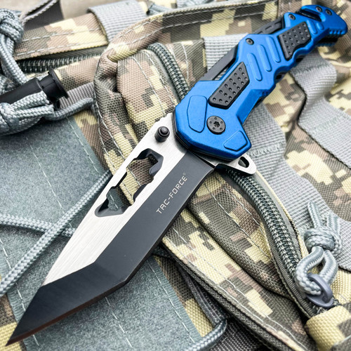 """8.25"""" Tac- Force Blue MILITARY TANTO Rescue Spring Open Assisted Pocket Knife"""