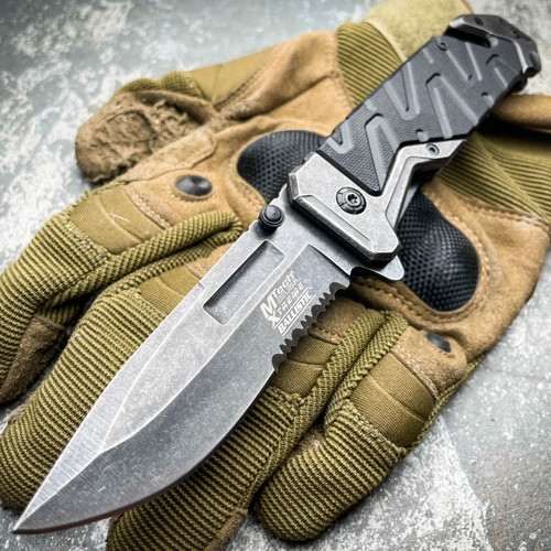 """8"""" M-TECH USA XTREME BLACK Military Spring Assisted Open Pocket Rescue Knife"""