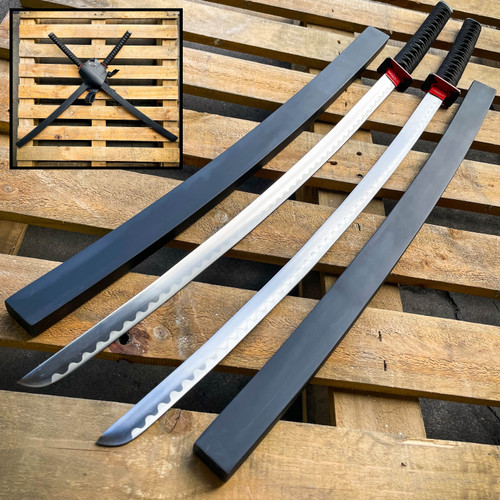 Deadpool Samurai Twin Katana Set Carbon Steel Swords Red TSuba Dual w/ Backstrap