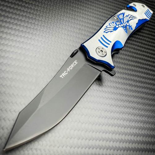 "8"" Tactical Fantasy Blue EAGLE Spring Assisted Open Rescue Folding Pocket Knife"