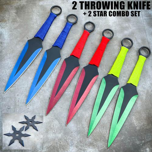 4 PC Ninja Throwing Knives Combo Star Shuriken Set
