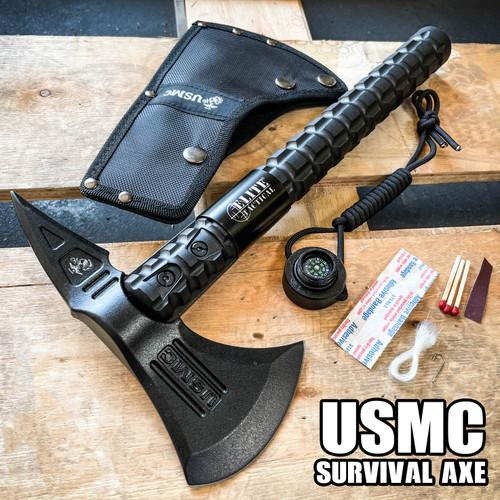 Elite Tactical USMC Marines Military Combat Tomahawk Hatchet AXE w Survival Kit