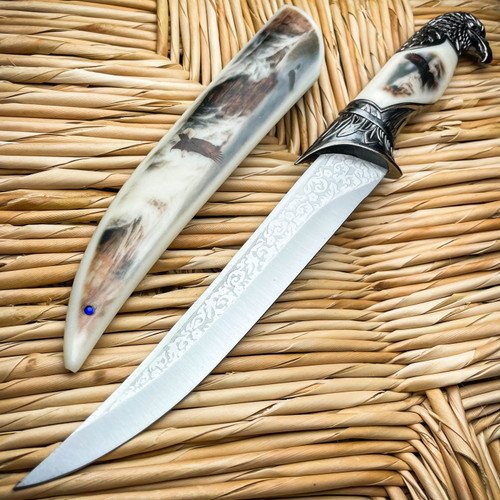 """13"""" Fantasy Eagle Head Fixed Blade Dagger Tactical Outdoor Hunting Knife Gift"""