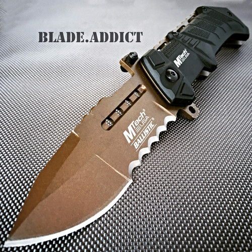 MTech Combat Tactical Military Sprint Assisted Open Pocket Knife Tan