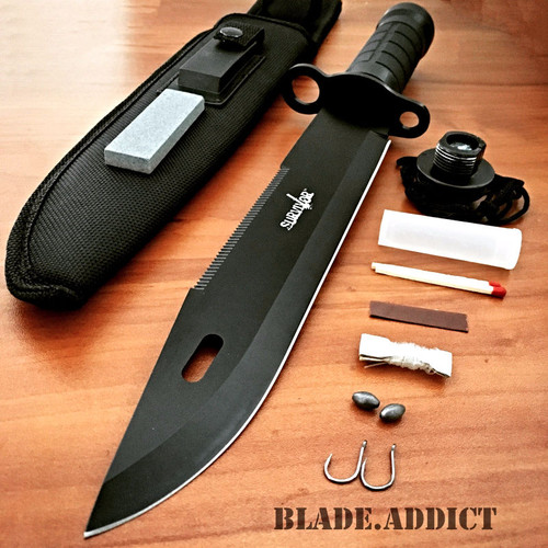 "15"" Tactical Hunting Rambo Fixed Blade Knife Machete Bowie w/ Survival Kit"