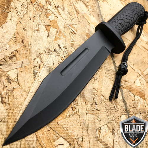 """12"""" BLACK HUNTING SURVIVAL FIXED BLADE MACHETE TACTICAL Rambo Knife Sword SPEAR"""