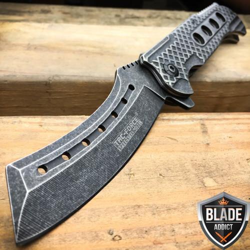 """9"""" TAC FORCE Razor Spring Assisted Open Folding Pocket Knife Stonewash Cleaver"""