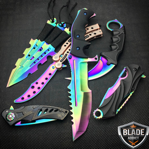 8 PC Titanium Ninja Tactical Survival Knife Set Rainbow