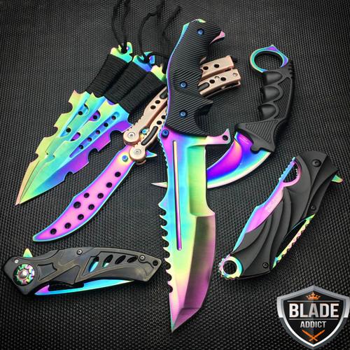 8 PC Titanium Ninja Tactical Survival Knife Set Rainbow