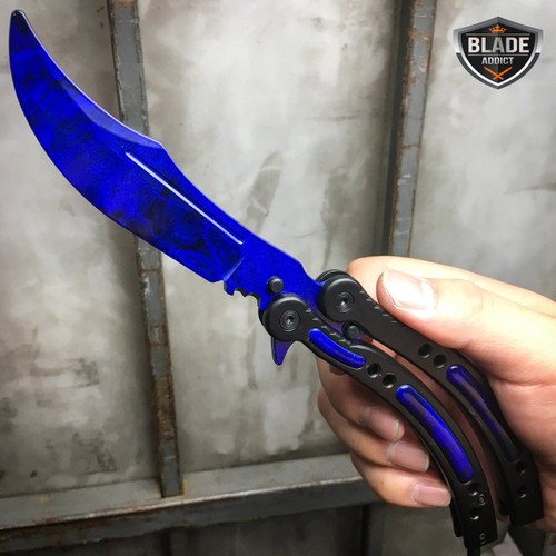 CSGO BLUE SAPPHIRE Practice Knife Balisong Butterfly Tactical Combat Trainer NEW