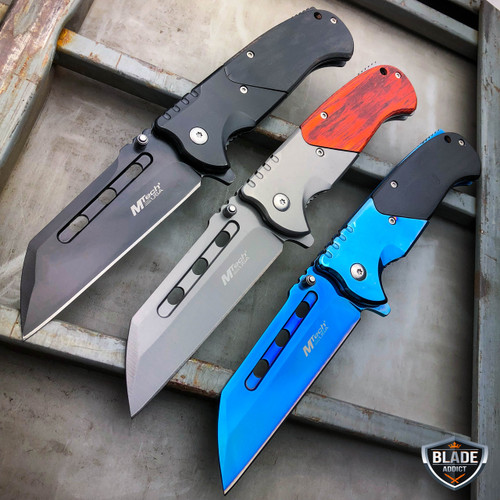 3PC M-Tech TACTICAL Spring Assisted Pocket Knife CLEAVER RAZOR FOLDING Blade SET