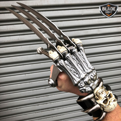 "17"" Fantasy Wolverine Claw & Skull Skeleton Knife Dagger w/ Handle Fixed Blade"