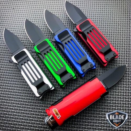 Lighter Holder w/ Spring Assisted Open Folding Pocket Knife Bro EDC Multi-Too