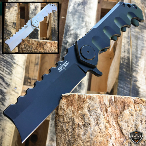 "9"" HUGE CLEAVER BALL BEARING Assisted Pocket Folding Knife RAZOR Blade NEW"