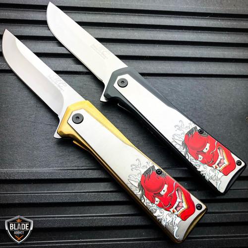 "8"" Samurai Katana Sword Style Dragon Folding Spring Assisted Open Pocket Knife"