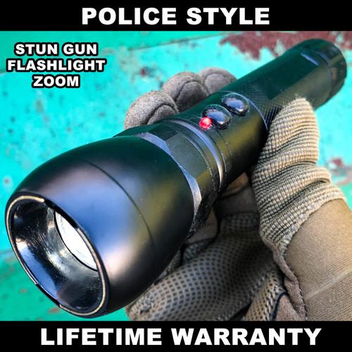 Metal POLICE Stun Gun 999MV Rechargeable LED Zoom Flashlight w/ Taser Case BLACK