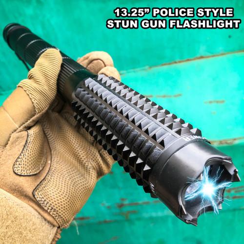 "13.25"" LONG Metal POLICE Stun Gun 999 Million Volt Rechargeable + LED Flashlight"