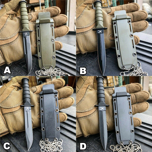 "6"" Military Tactical Kabai Combat Fixed Blade Survival Neck Knife w Chain Sheath"