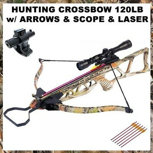 NEW 120 LB ARCHERY HUNTING Gun PISTOL CROSSBOW w ARROWS BOLTS + SCOPE + LASER