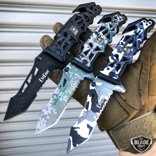 """9"""" Military ARMY Tactical Spring Assisted Open Folding Rescue Pocket Knife Blade"""