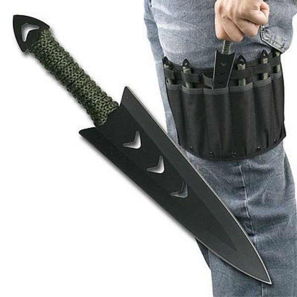 6 PC Ninja Tactical Combat Naruto Kunai Throwing Knife Set w/ Sheath Hunting