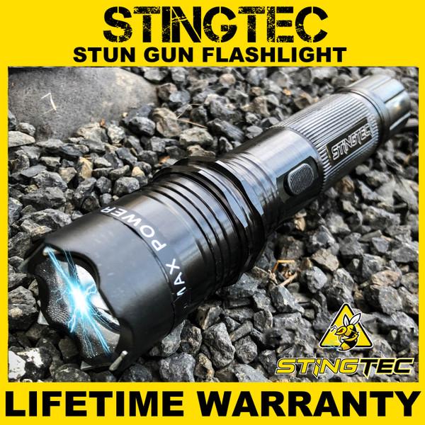 STINGTEC BLACK METAL Stun Gun MAX POWER Rechargeable LED Flashlight w/ Case