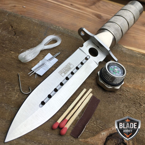 """8"""" Tactical Fishing Hunting Survival Knife w/ Sheath Bowie Survival Kit Combat"""