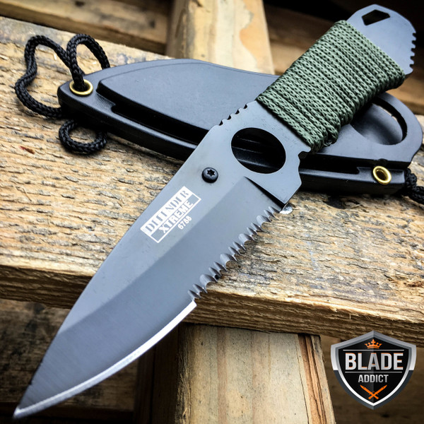 "7"" TACTICAL MILITARY FIXED BLADE NECK KNIFE w/ SHEATH boot camping Combat"
