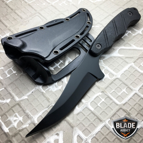 Tactical FULL TANG Survival Hunting Camping Skinning Fixed Blade Knife BLACK NEW