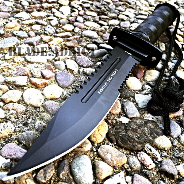 """11"""" Tactical Fishing Hunting RAMBO Knife w Sheath Bowie Survival Kit Camping"""