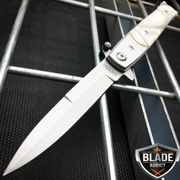 """9"""" Italian  Milano Stiletto Tactical Spring Assisted Open Pocket Knife Pearl"""