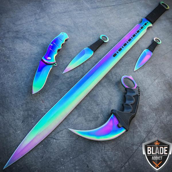 5PC Rainbow Tactical Combat Fixed Blade Machete Sword Throwing Knife Karambit Set